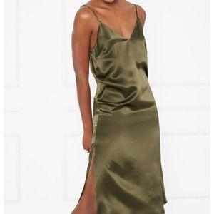 Hazel and Olive Boutique Satin Maxi Dress NWOT